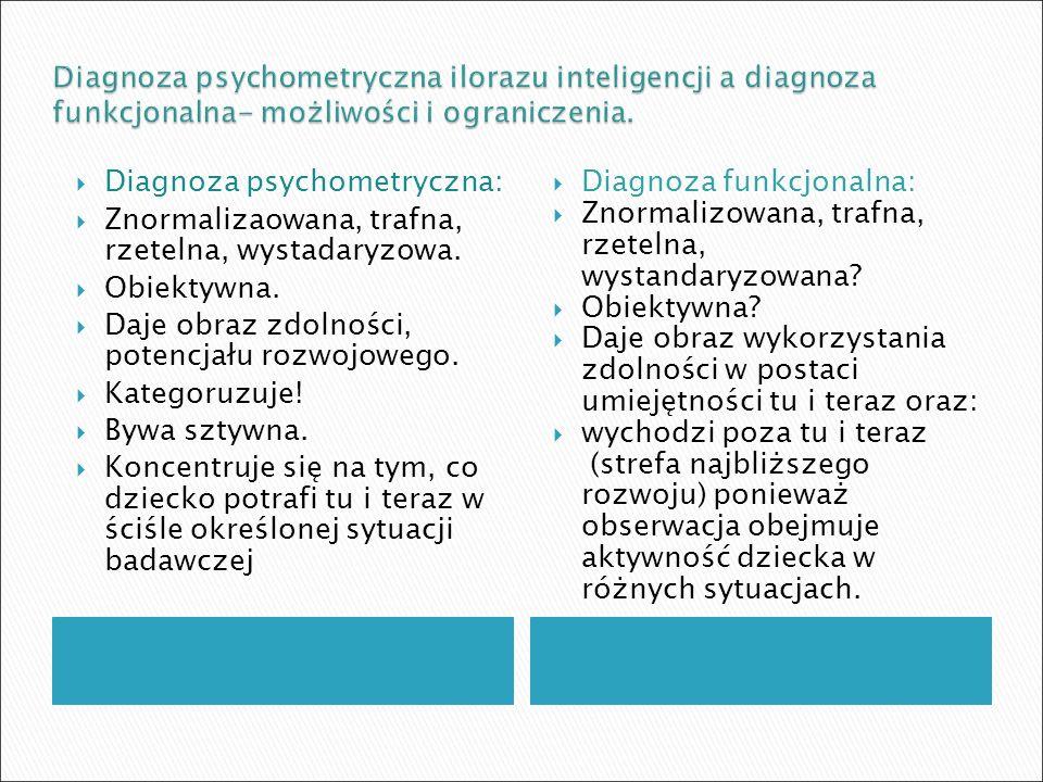 Diagnoza psychometryczna ilorazu inteligencji a diagnoza funkcjonalna- możliwości i ograniczenia.