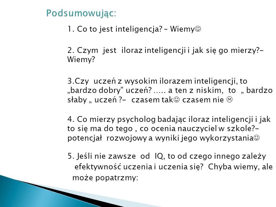 Podsumowując: 1. Co to jest inteligencja – Wiemy 2. Czym jest iloraz inteligencji i jak się go mierzy - Wiemy