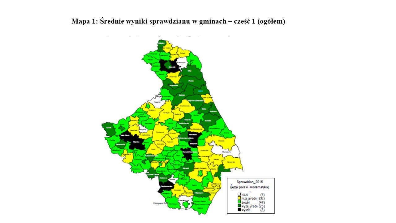 Mapa 1: Średnie wyniki sprawdzianu w gminach – cześć 1 (ogółem)
