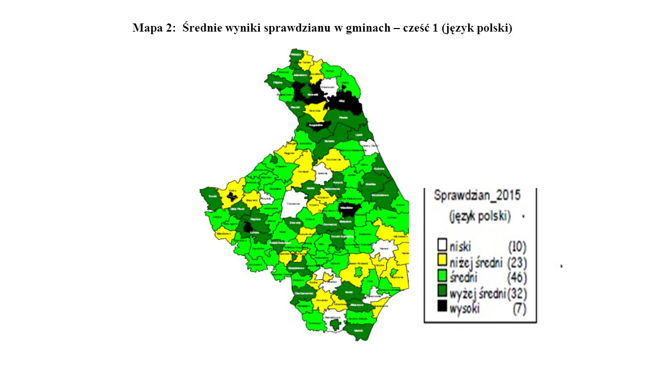 Mapa 2: Średnie wyniki sprawdzianu w gminach – cześć 1 (język polski)