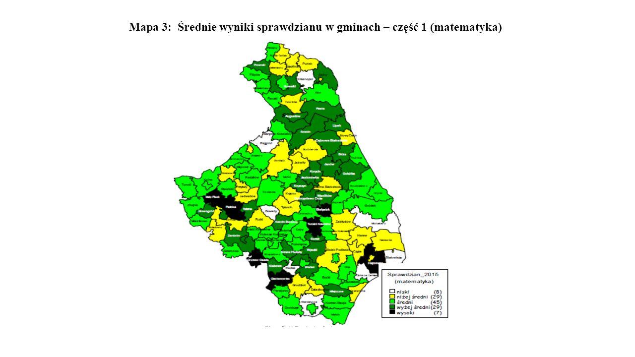 Mapa 3: Średnie wyniki sprawdzianu w gminach – część 1 (matematyka)