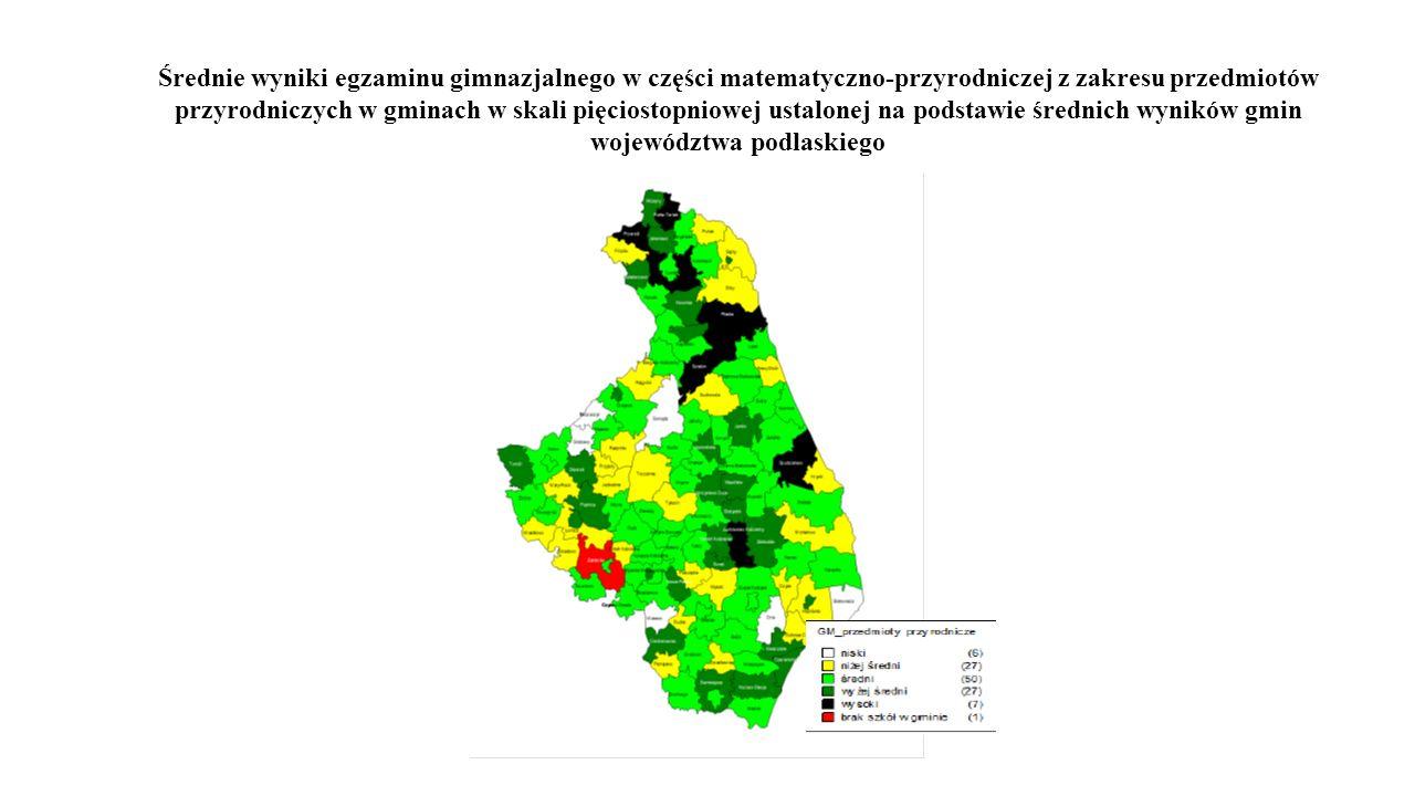 Średnie wyniki egzaminu gimnazjalnego w części matematyczno-przyrodniczej z zakresu przedmiotów przyrodniczych w gminach w skali pięciostopniowej ustalonej na podstawie średnich wyników gmin województwa podlaskiego