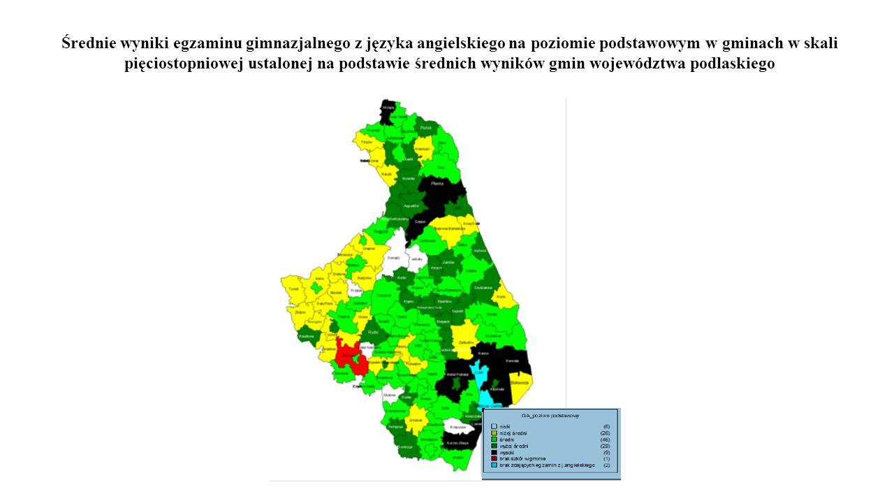 Średnie wyniki egzaminu gimnazjalnego z języka angielskiego na poziomie podstawowym w gminach w skali pięciostopniowej ustalonej na podstawie średnich wyników gmin województwa podlaskiego