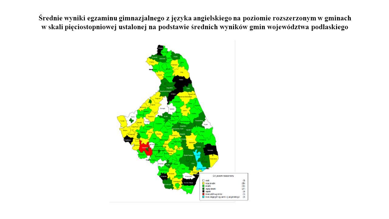 Średnie wyniki egzaminu gimnazjalnego z języka angielskiego na poziomie rozszerzonym w gminach w skali pięciostopniowej ustalonej na podstawie średnich wyników gmin województwa podlaskiego