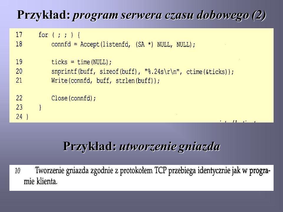 Przykład: program serwera czasu dobowego (2)