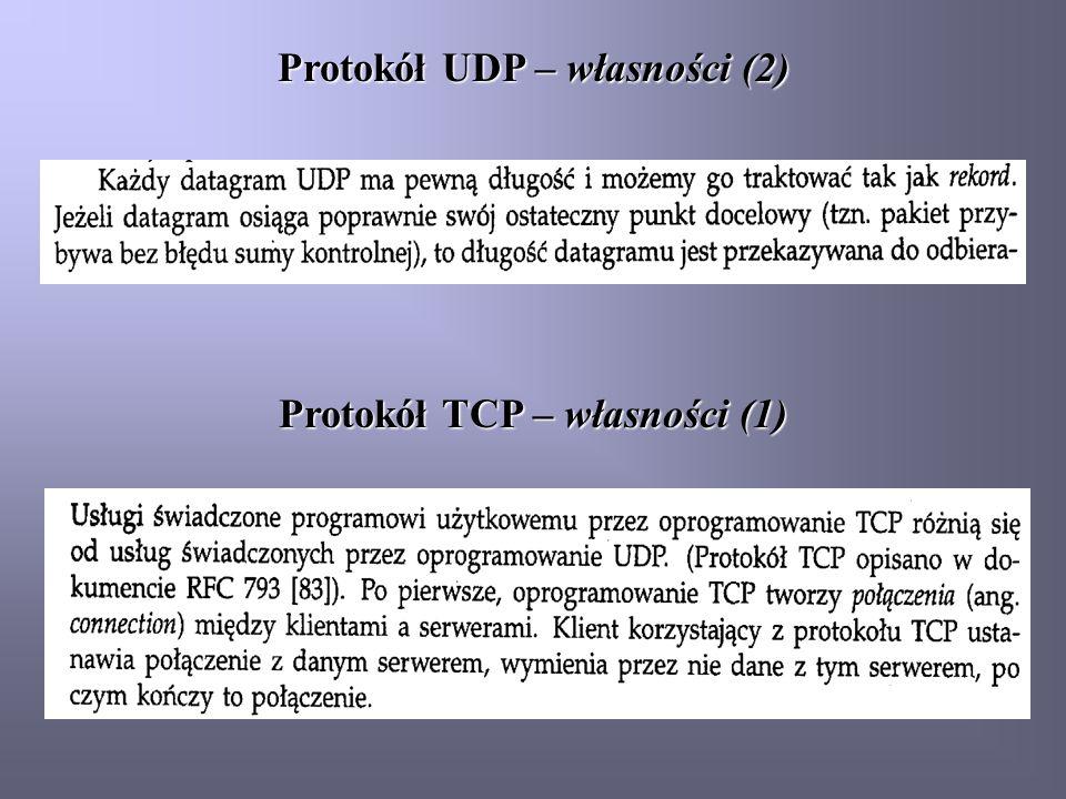 Protokół UDP – własności (2) Protokół TCP – własności (1)