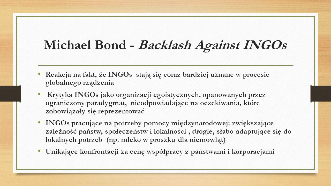 Michael Bond - Backlash Against INGOs