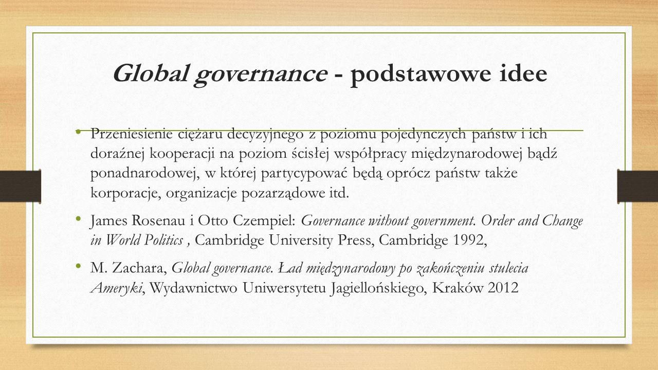 Global governance - podstawowe idee