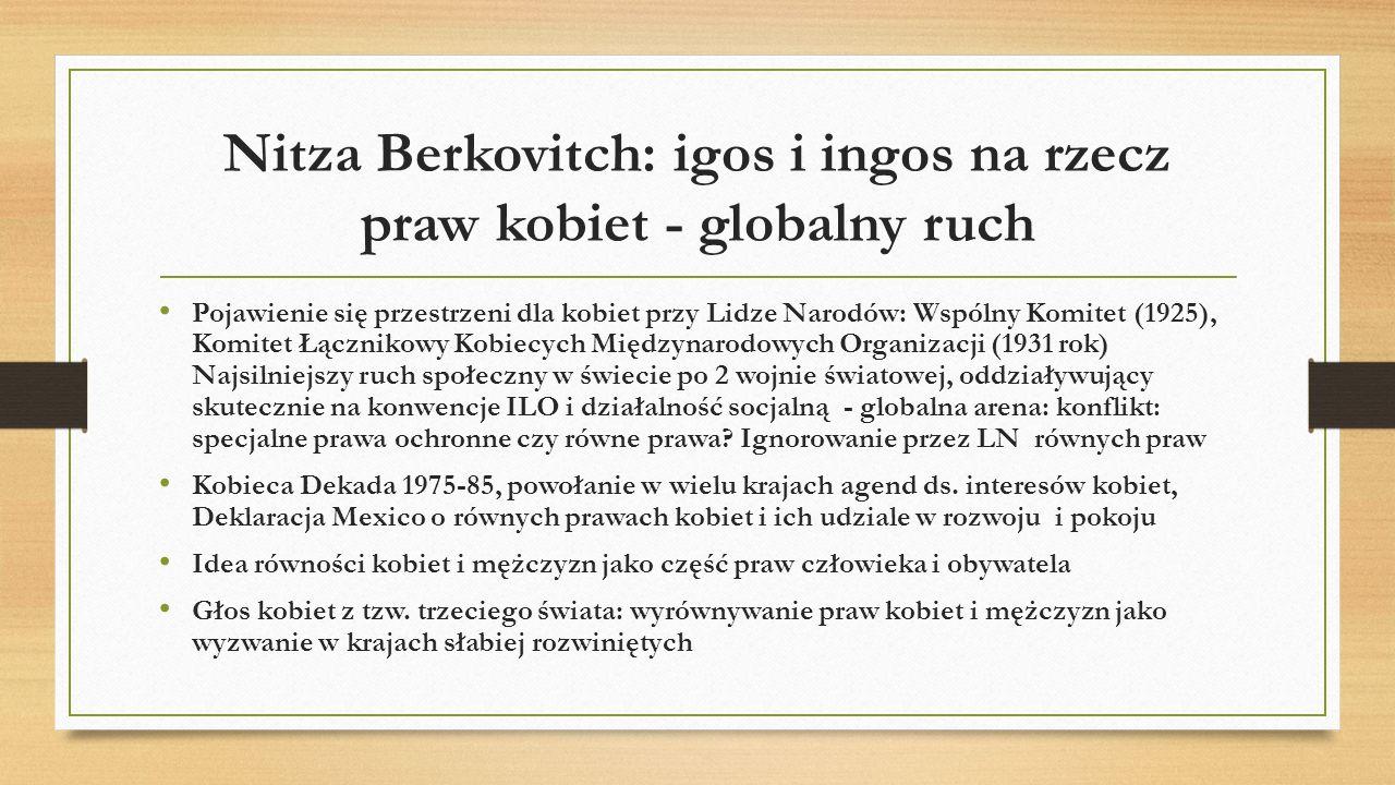 Nitza Berkovitch: igos i ingos na rzecz praw kobiet - globalny ruch