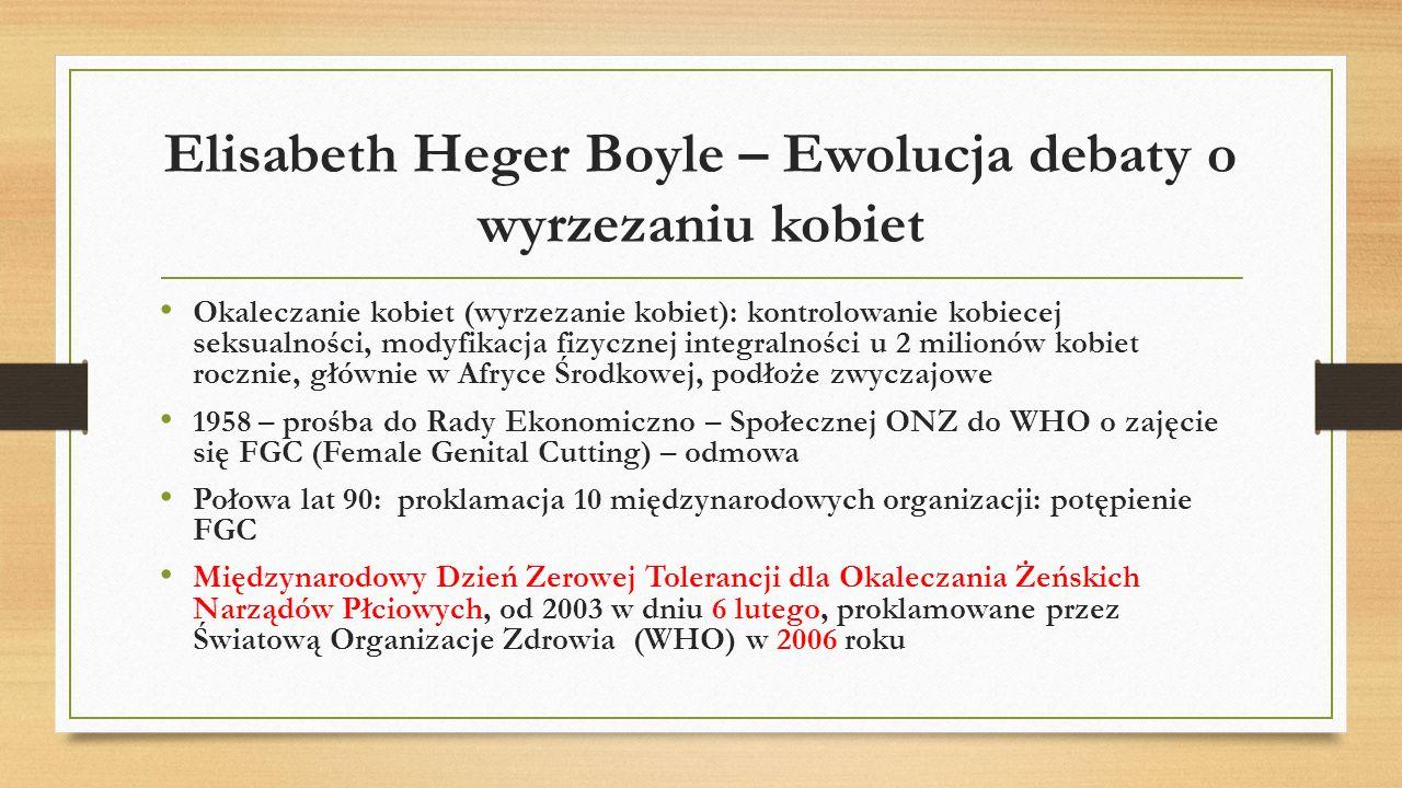 Elisabeth Heger Boyle – Ewolucja debaty o wyrzezaniu kobiet