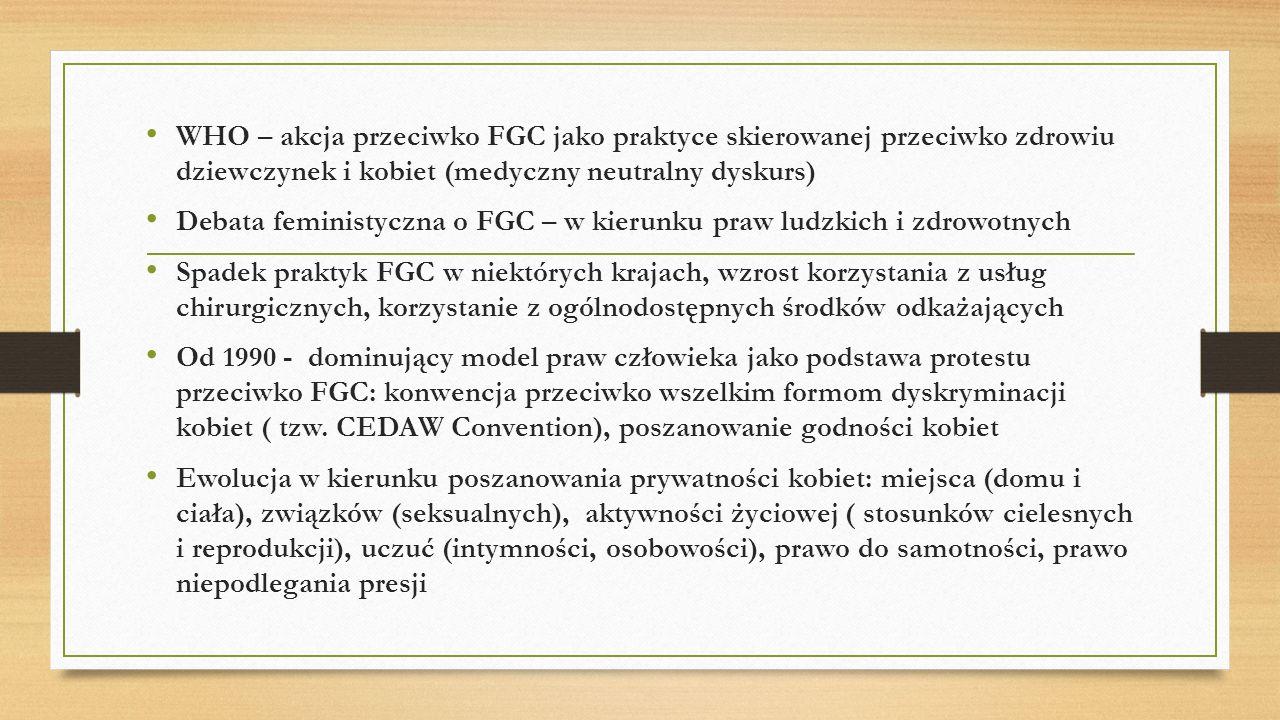 WHO – akcja przeciwko FGC jako praktyce skierowanej przeciwko zdrowiu dziewczynek i kobiet (medyczny neutralny dyskurs)