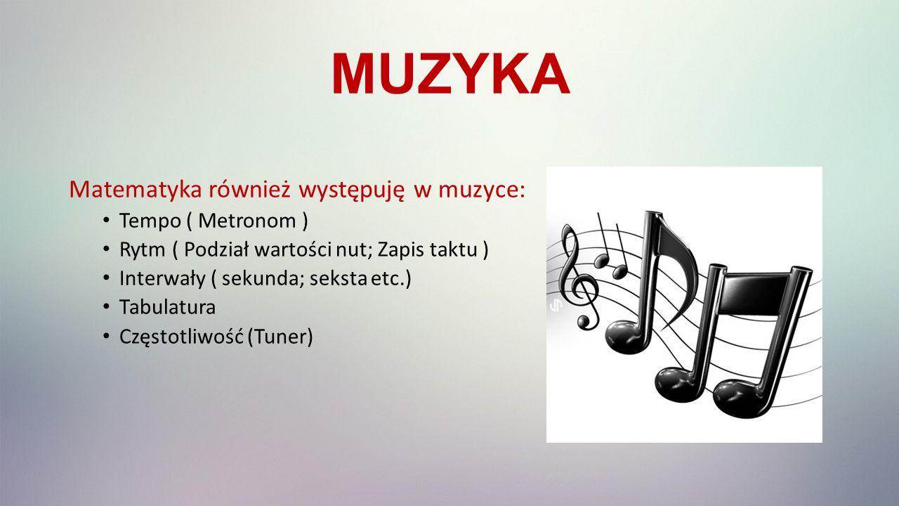 MUZYKA Matematyka również występuję w muzyce: Tempo ( Metronom )