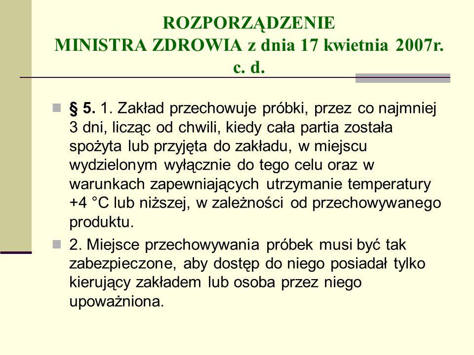 ROZPORZĄDZENIE MINISTRA ZDROWIA z dnia 17 kwietnia 2007r. c. d.