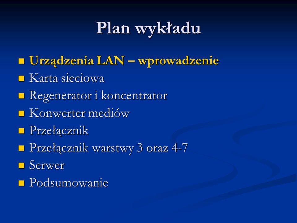 Plan wykładu Urządzenia LAN – wprowadzenie Karta sieciowa