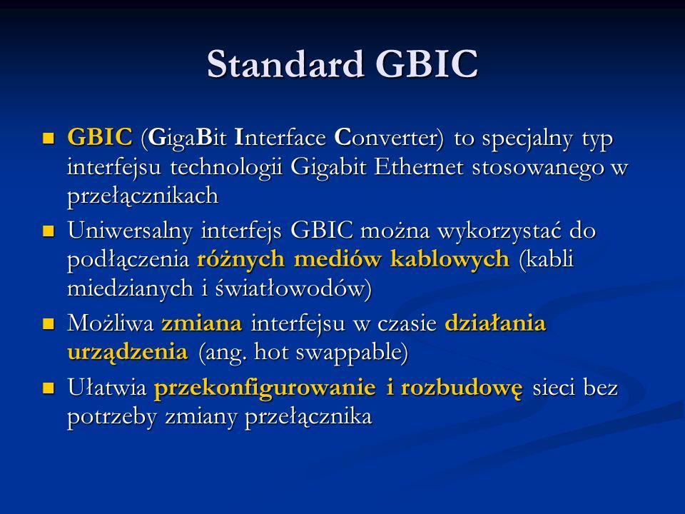 Standard GBICGBIC (GigaBit Interface Converter) to specjalny typ interfejsu technologii Gigabit Ethernet stosowanego w przełącznikach.