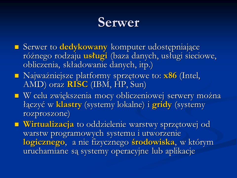 Serwer Serwer to dedykowany komputer udostępniające różnego rodzaju usługi (baza danych, usługi sieciowe, obliczenia, składowanie danych, itp.)