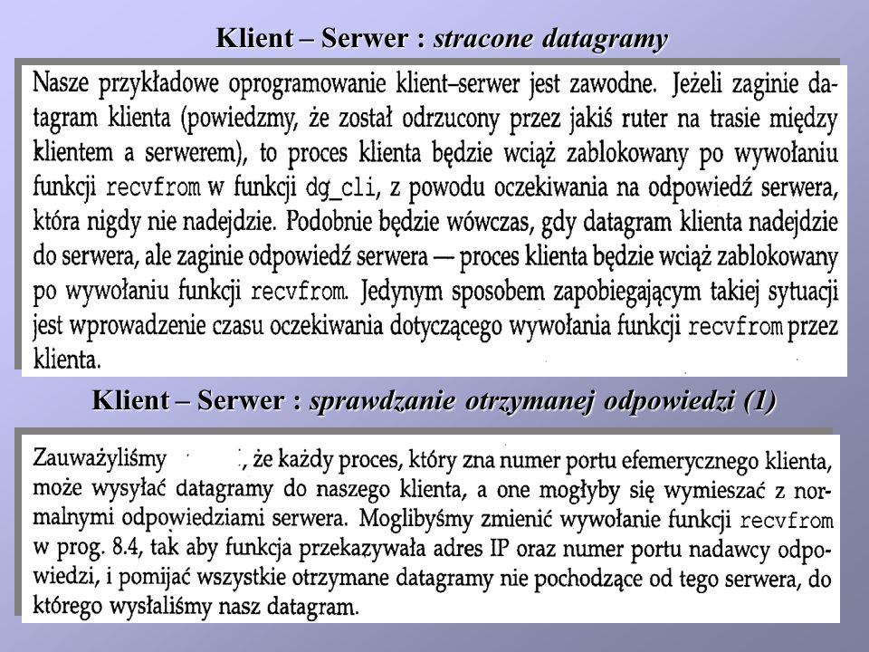 Klient – Serwer : stracone datagramy