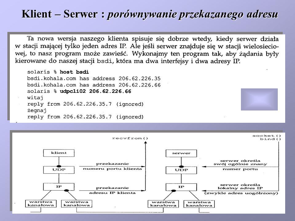 Klient – Serwer : porównywanie przekazanego adresu