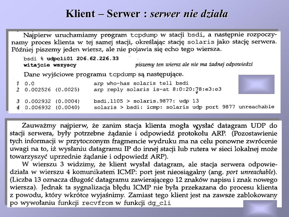 Klient – Serwer : serwer nie działa