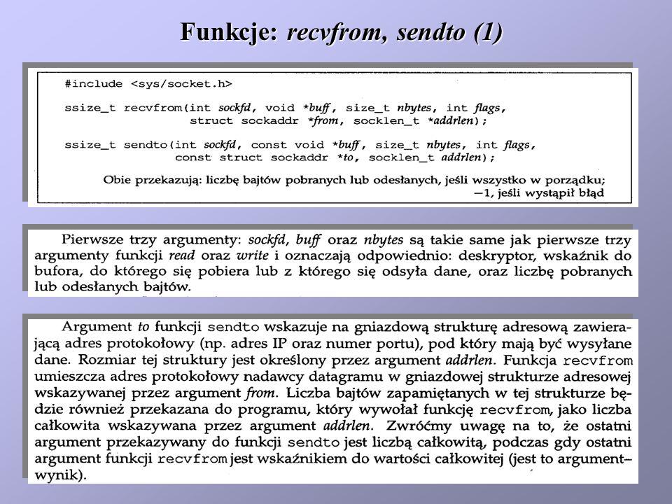 Funkcje: recvfrom, sendto (1)
