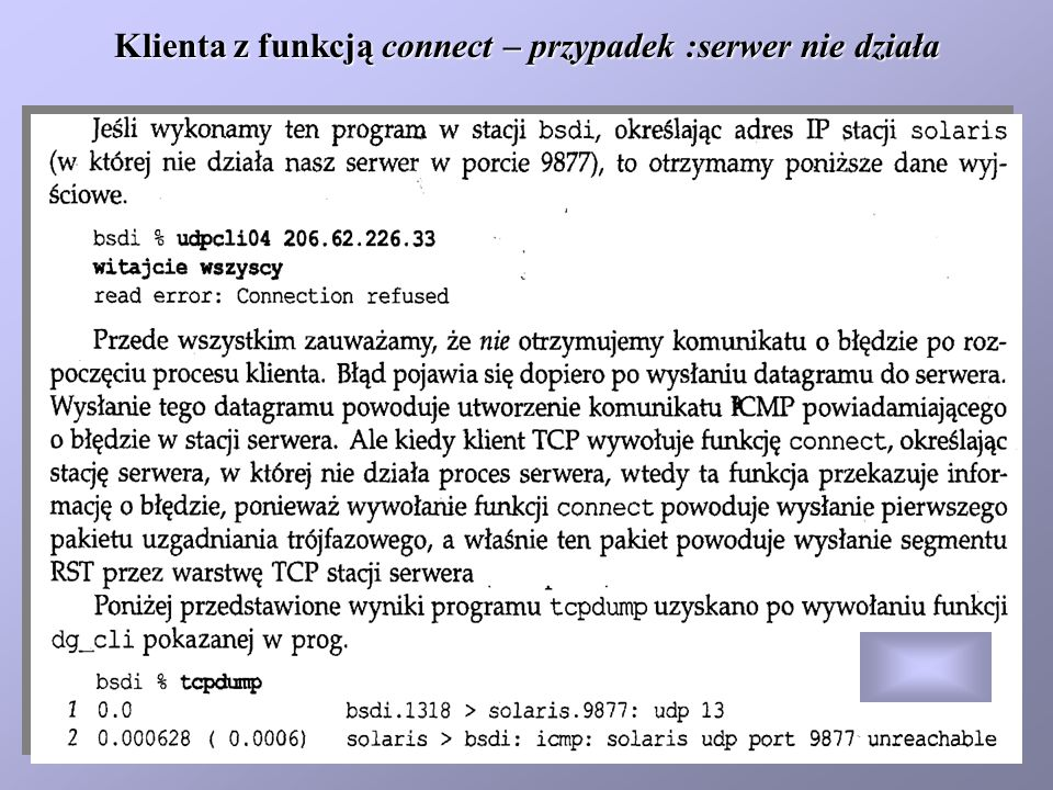 Klienta z funkcją connect – przypadek :serwer nie działa