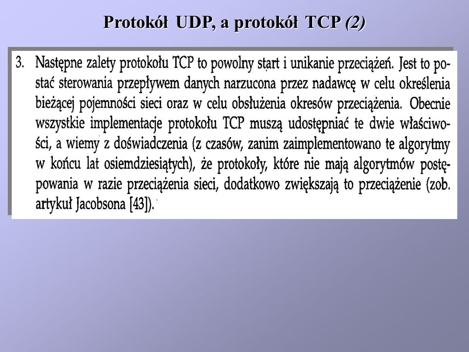 Protokół UDP, a protokół TCP (2)