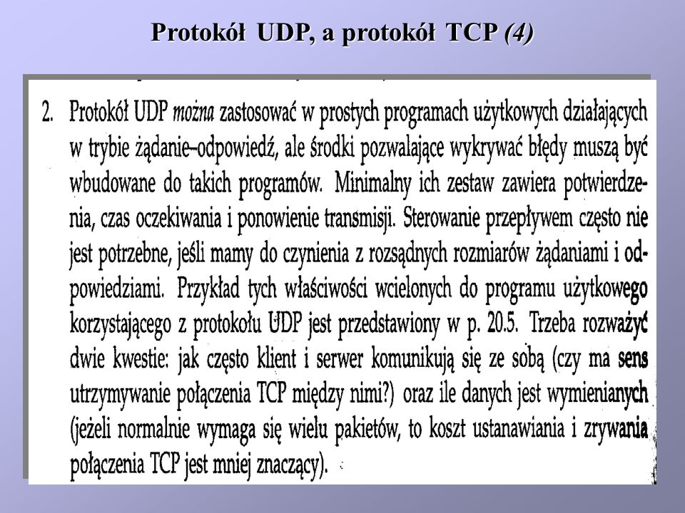 Protokół UDP, a protokół TCP (4)