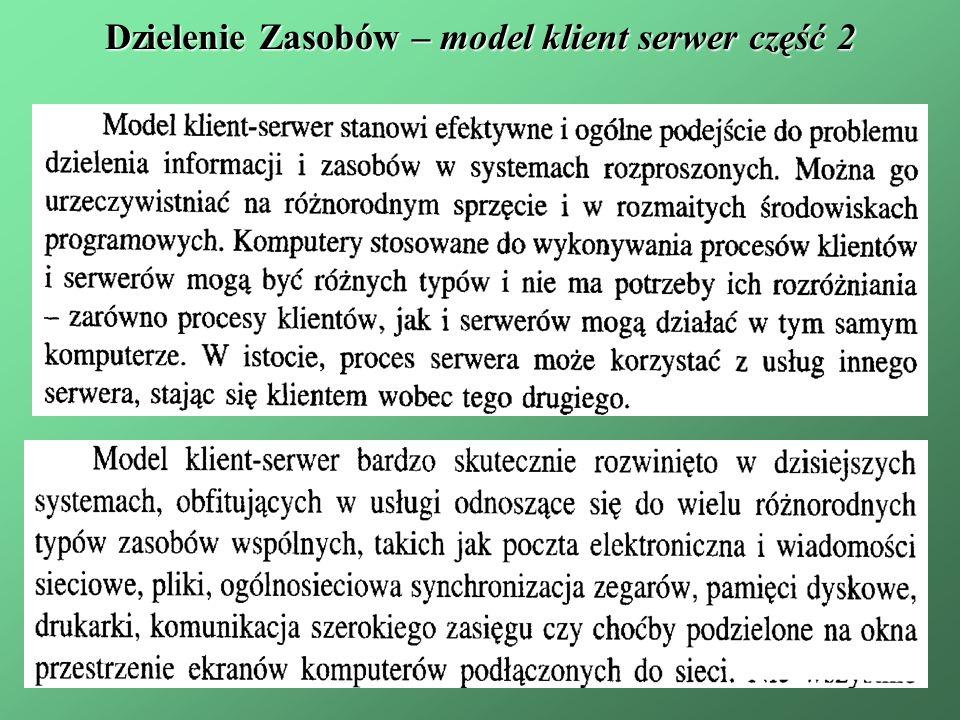 Dzielenie Zasobów – model klient serwer część 2