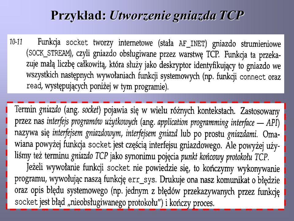 Przykład: Utworzenie gniazda TCP