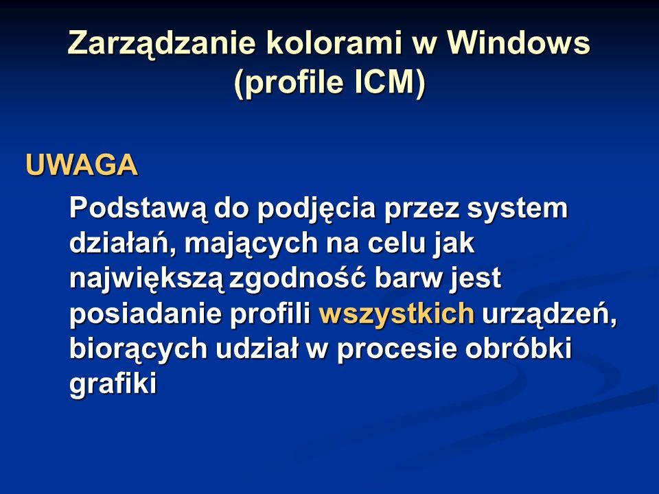 Zarządzanie kolorami w Windows (profile ICM)
