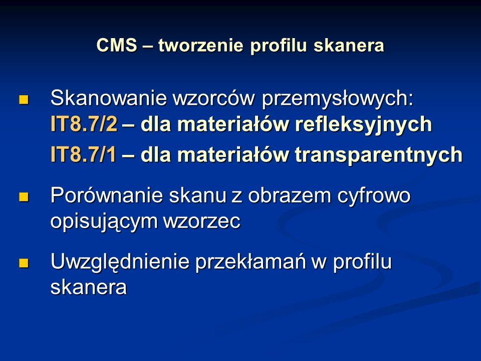 CMS – tworzenie profilu skanera