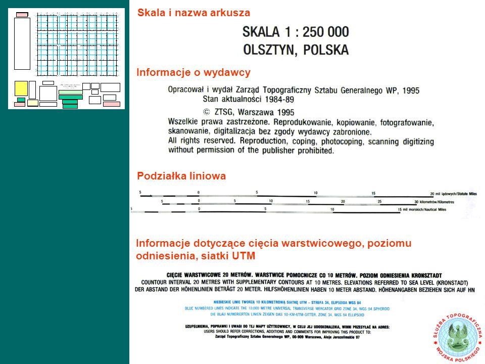 Skala i nazwa arkusza Informacje o wydawcy. Podziałka liniowa.