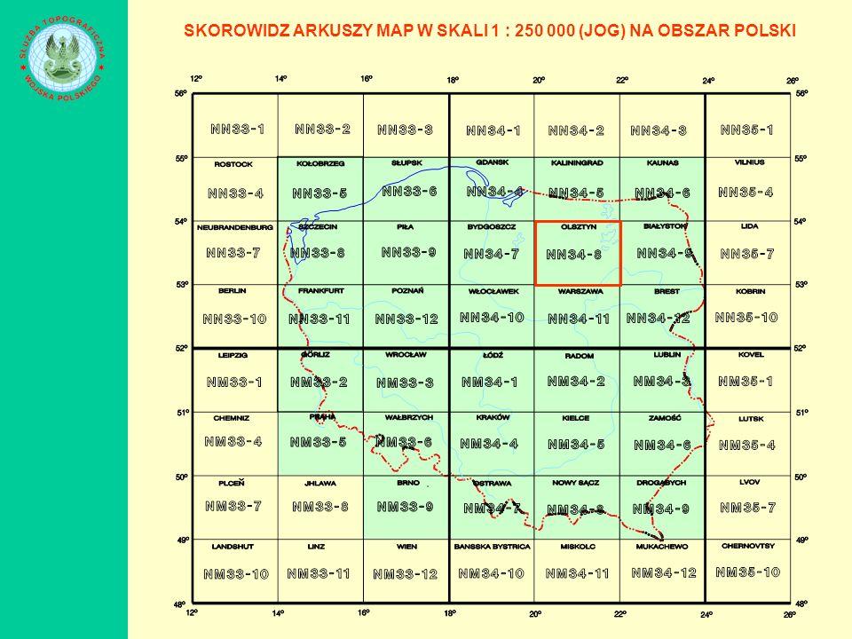 SKOROWIDZ ARKUSZY MAP W SKALI 1 : 250 000 (JOG) NA OBSZAR POLSKI