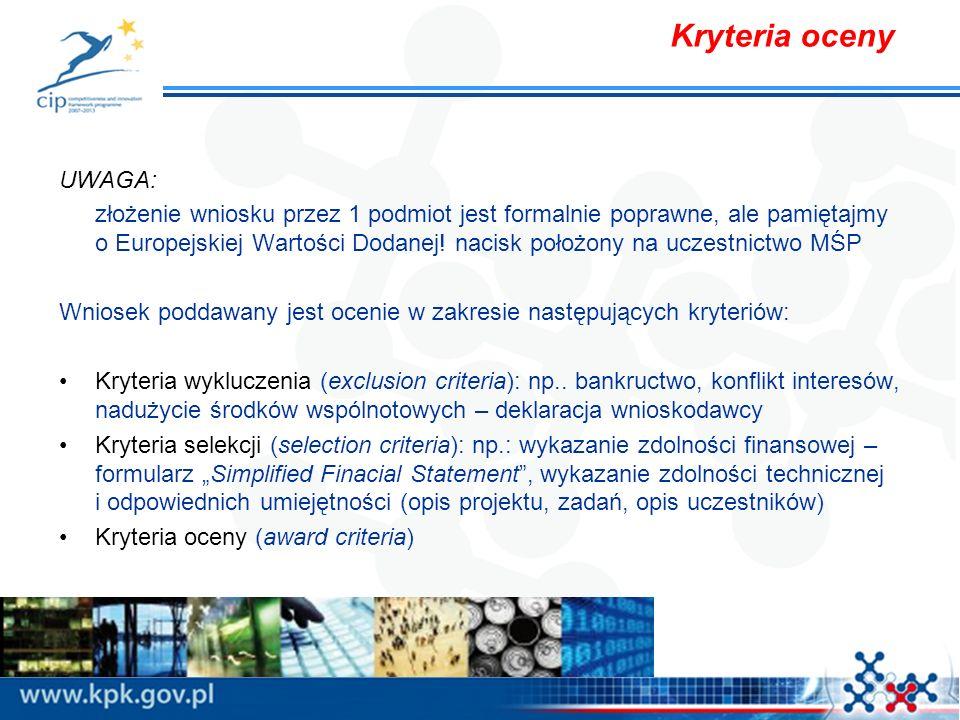 Kryteria oceny UWAGA: