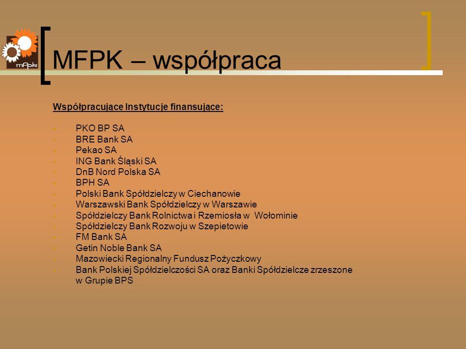 MFPK – współpraca Współpracujące Instytucje finansujące: PKO BP SA