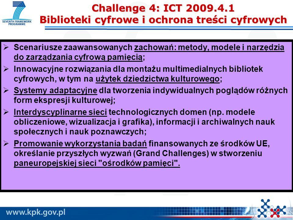 Challenge 4: ICT 2009.4.1 Biblioteki cyfrowe i ochrona treści cyfrowych