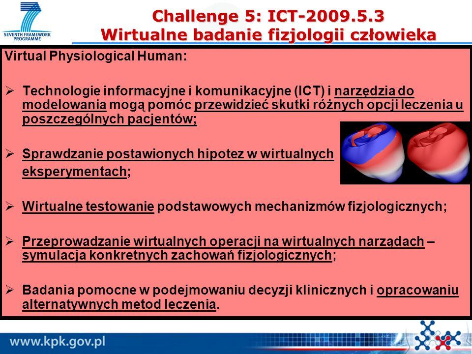Challenge 5: ICT-2009.5.3 Wirtualne badanie fizjologii człowieka