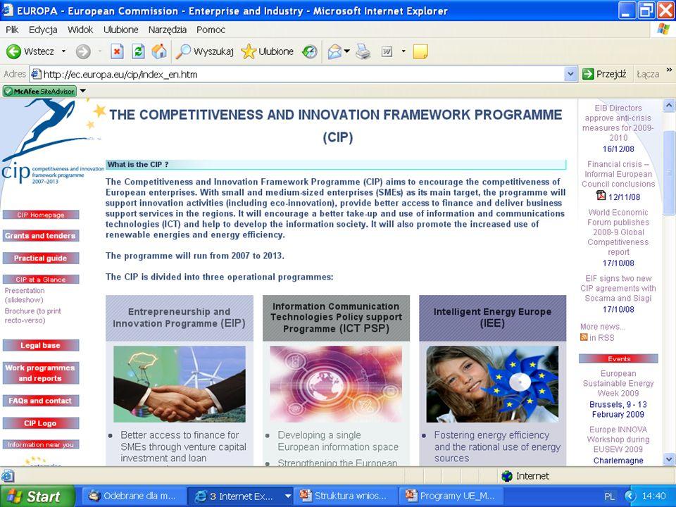 Program Ramowy na Rzecz Konkurencyjności i Innowacji, c.d.