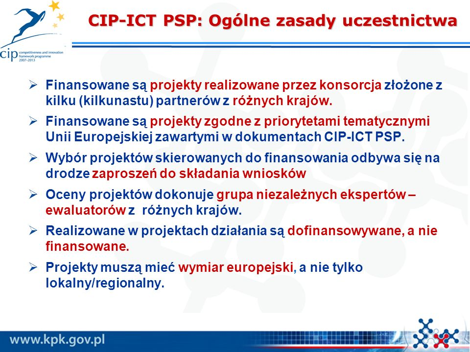 CIP-ICT PSP: Ogólne zasady uczestnictwa
