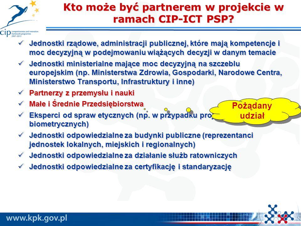 Kto może być partnerem w projekcie w ramach CIP-ICT PSP