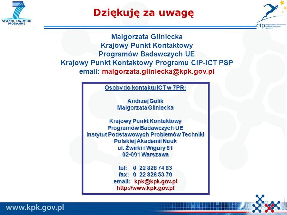 Dziękuję za uwagę Małgorzata Gliniecka Krajowy Punkt Kontaktowy
