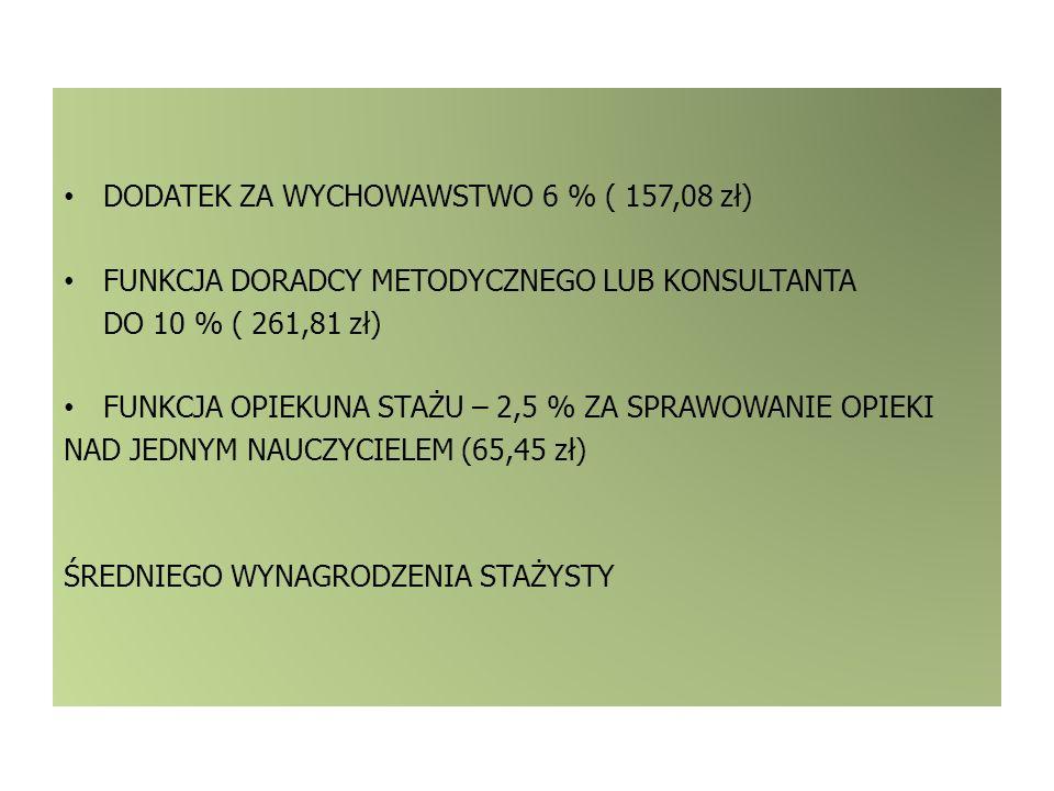 DODATEK ZA WYCHOWAWSTWO 6 % ( 157,08 zł)