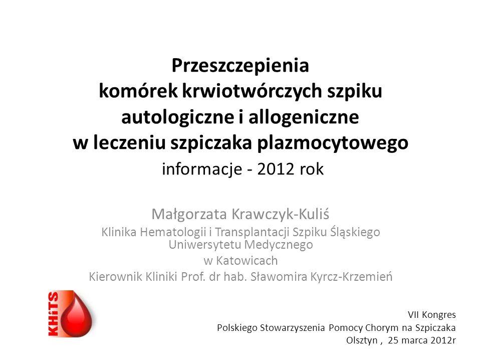 Przeszczepienia komórek krwiotwórczych szpiku autologiczne i allogeniczne w leczeniu szpiczaka plazmocytowego informacje - 2012 rok