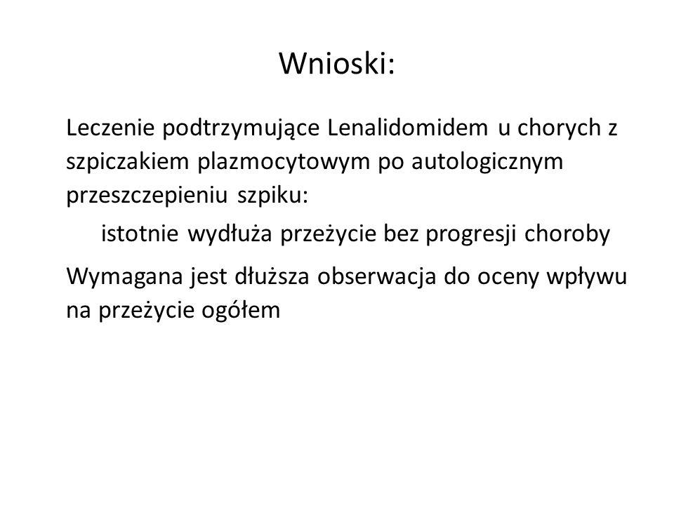 Wnioski: Leczenie podtrzymujące Lenalidomidem u chorych z szpiczakiem plazmocytowym po autologicznym przeszczepieniu szpiku: