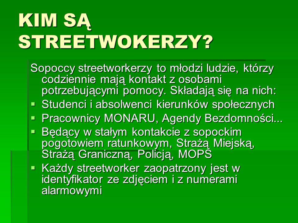 KIM SĄ STREETWOKERZY Sopoccy streetworkerzy to młodzi ludzie, którzy codziennie mają kontakt z osobami potrzebującymi pomocy. Składają się na nich: