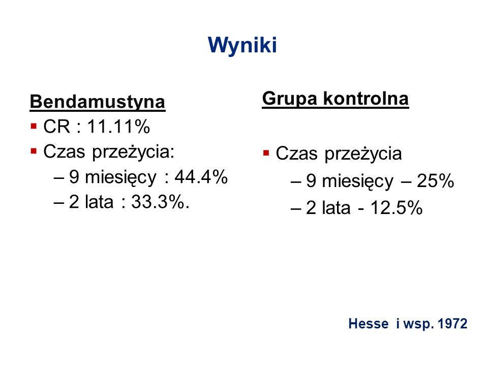 Wyniki Grupa kontrolna Bendamustyna CR : 11.11% Czas przeżycia