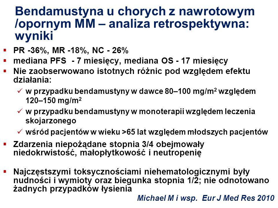 Bendamustyna u chorych z nawrotowym /opornym MM – analiza retrospektywna: wyniki