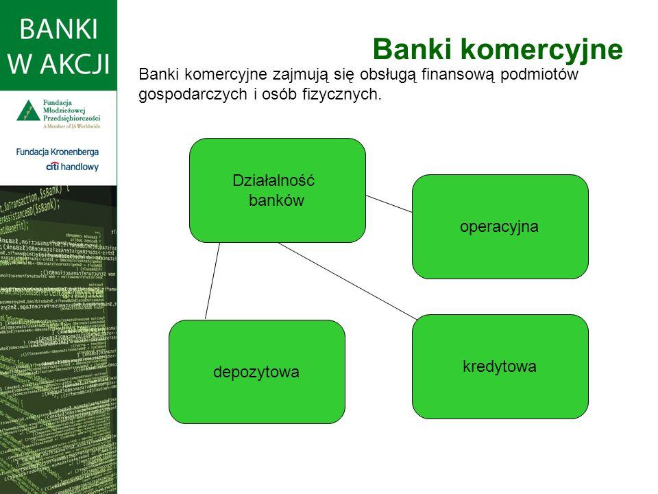 Banki komercyjne Banki komercyjne zajmują się obsługą finansową podmiotów gospodarczych i osób fizycznych.