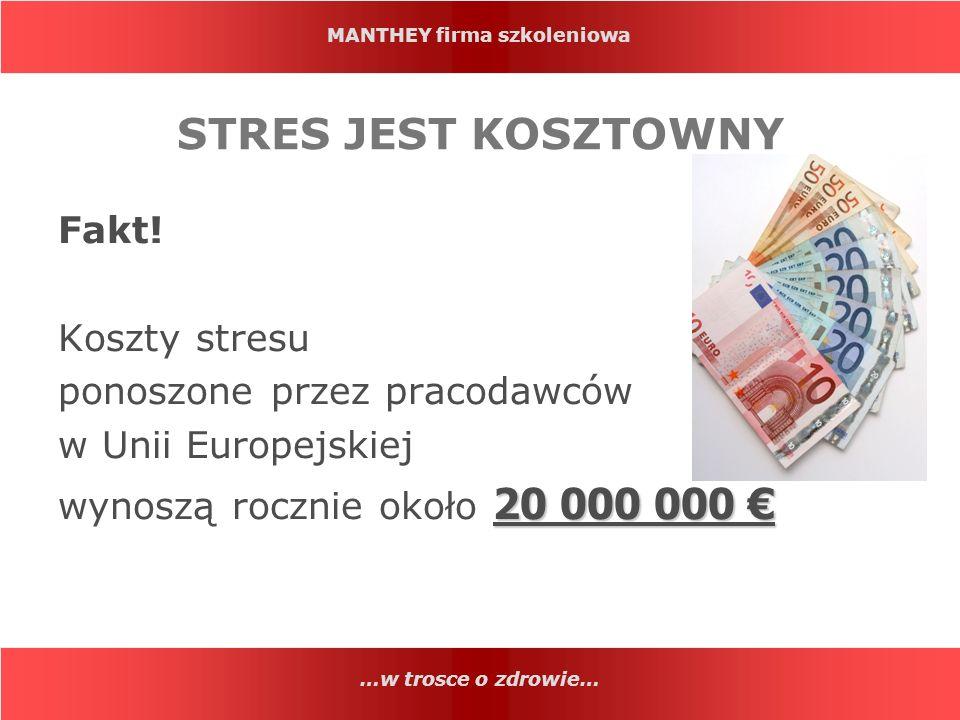 STRES JEST KOSZTOWNY Fakt! Koszty stresu ponoszone przez pracodawców
