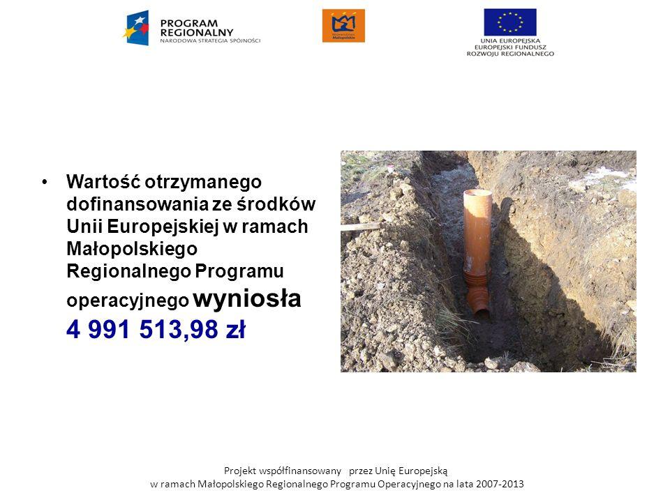 Wartość otrzymanego dofinansowania ze środków Unii Europejskiej w ramach Małopolskiego Regionalnego Programu operacyjnego wyniosła 4 991 513,98 zł